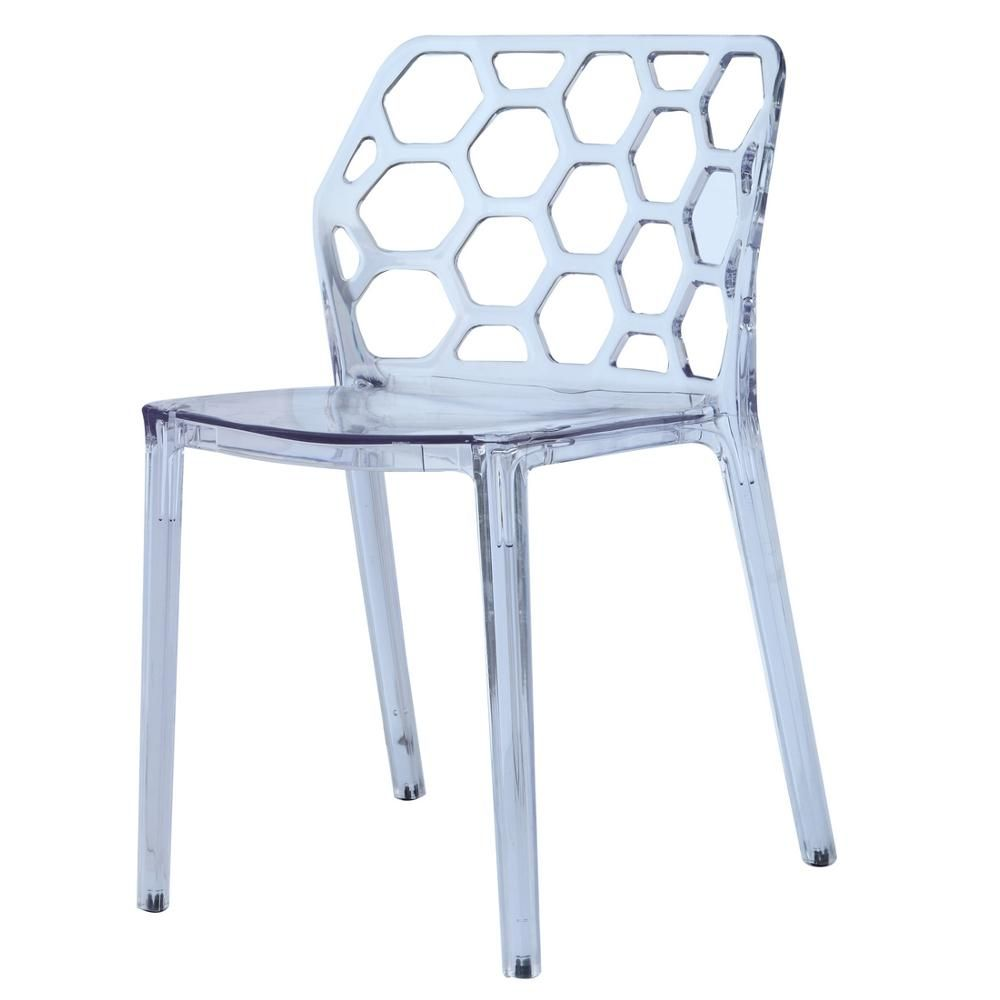 Honeycomb Clear Dining Chair-FMI10174-CLEAR - The Home Depot