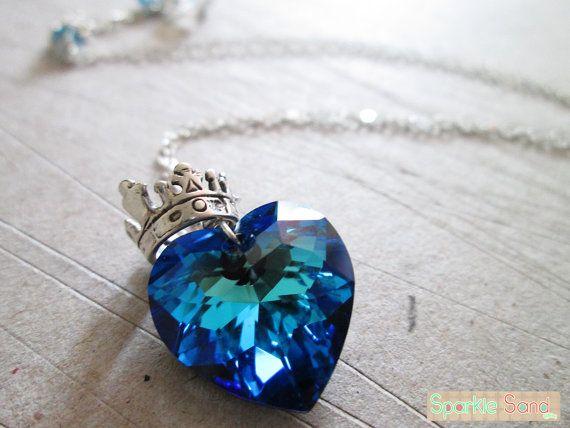 Princess Crown (Princess of the Sea), Swarovski necklace, sterling silver necklace, heart necklace, kingdom heart, kawaii jewelry, crown