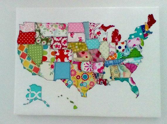 Usa Fabric Map Us Map Art Map Wall Art State Theme Art State