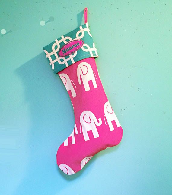 Baby S First Christmas Stocking Hot Pink Elephant By Urbancreative 34 00
