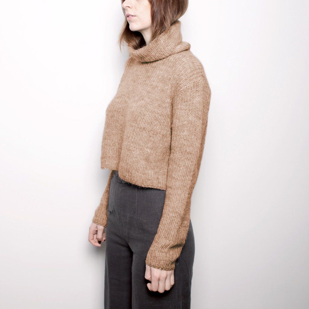 Mohair Turtleneck Cropped Sweater - Camel FW16 | Products, Camel ...
