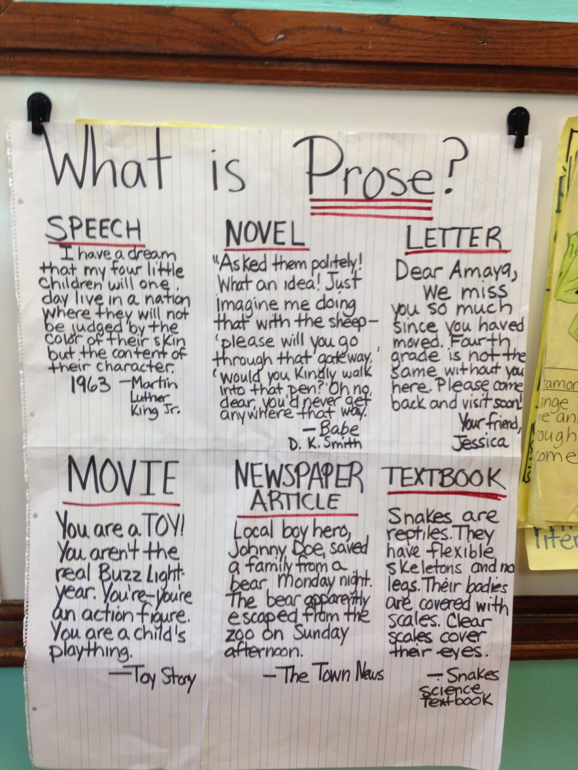 Prose Types Of Writing Chart With Images