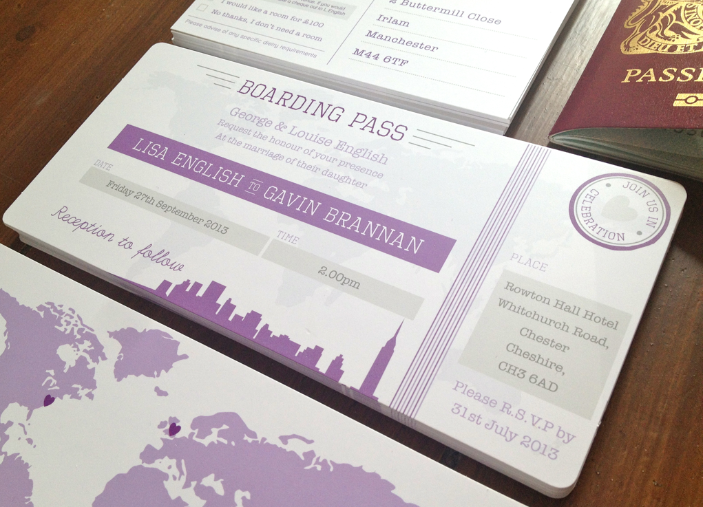 wording for party invitations uk%0A New York Boarding Pass Wedding Invitation Bundle