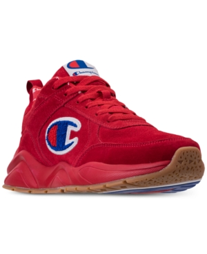6569310fac6b25 Champion Men s 93Eighteen Suede Chenille Athletic Training Sneakers from  Finish Line - Red 10.5