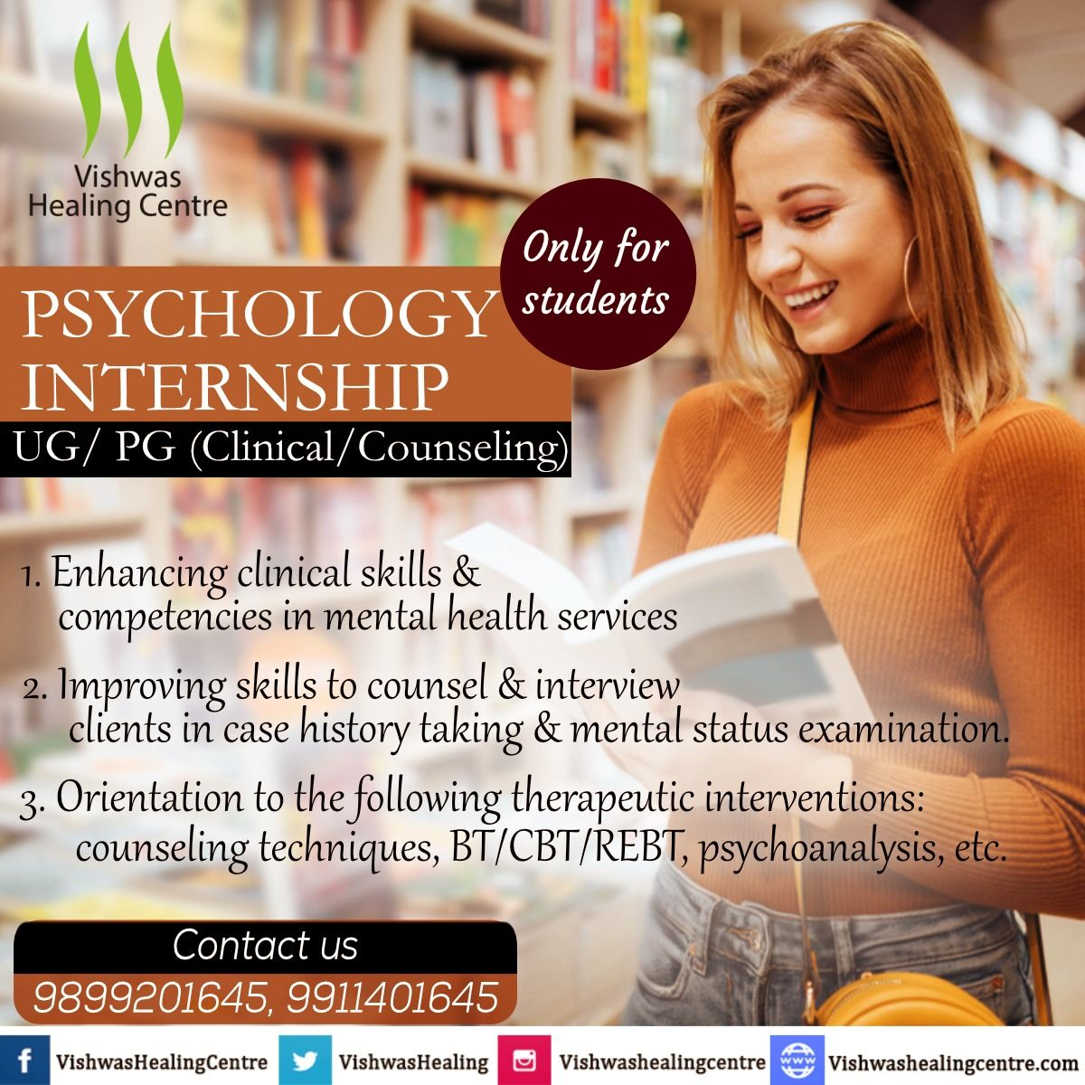 In This Internship Program Aims To Provide Theoretical Inputs Hands On Clinical Experience I Psychology Internships Counseling Techniques Psychology Student