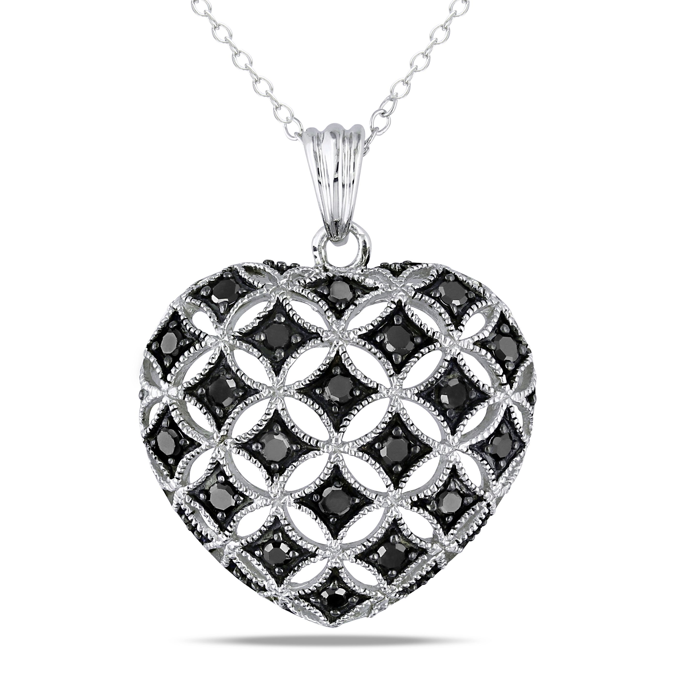 Miadora Sterling Silver 1 2ct TDW Black Diamond Heart Necklace by