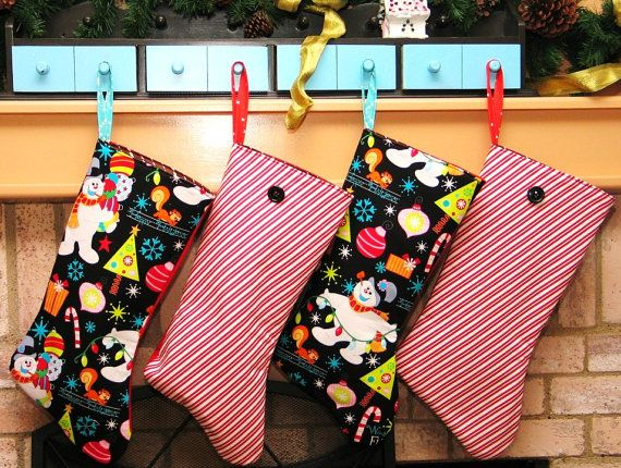 Set of 4Christmas Stockings Frosty the snowman by Bagzgirl on Etsy, $60.00
