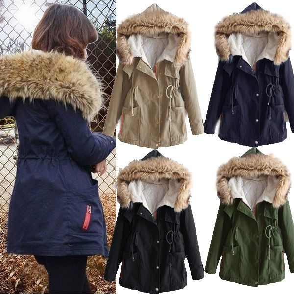 Women's Thicken Fleece Warm Faux Fur Winter Coat Hooded Parka ...