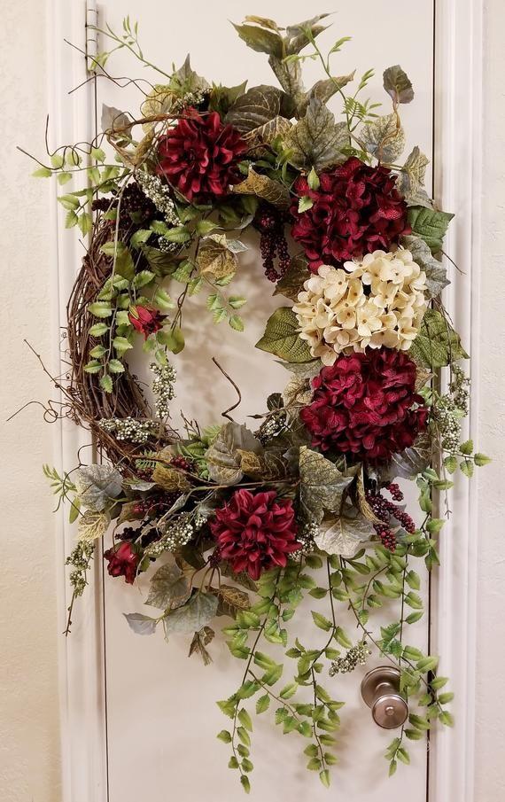 Photo of Everyday wreath, spring wreath, summer wreath, hydrangea wreath, hydrangea decor, grapevine wreath, vine decor, front door wreath, wreath