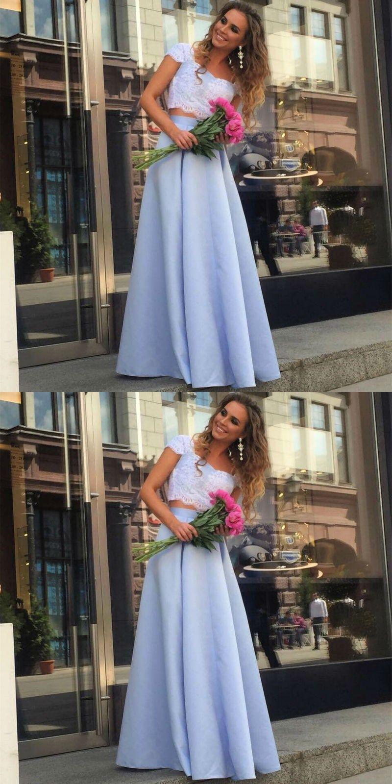 Cheap prom dresses elegant lace crop top satin two piece hot sale