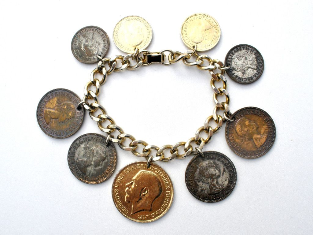 Coin Charm Bracelet Vintage Gold Charms In 2019 Antique