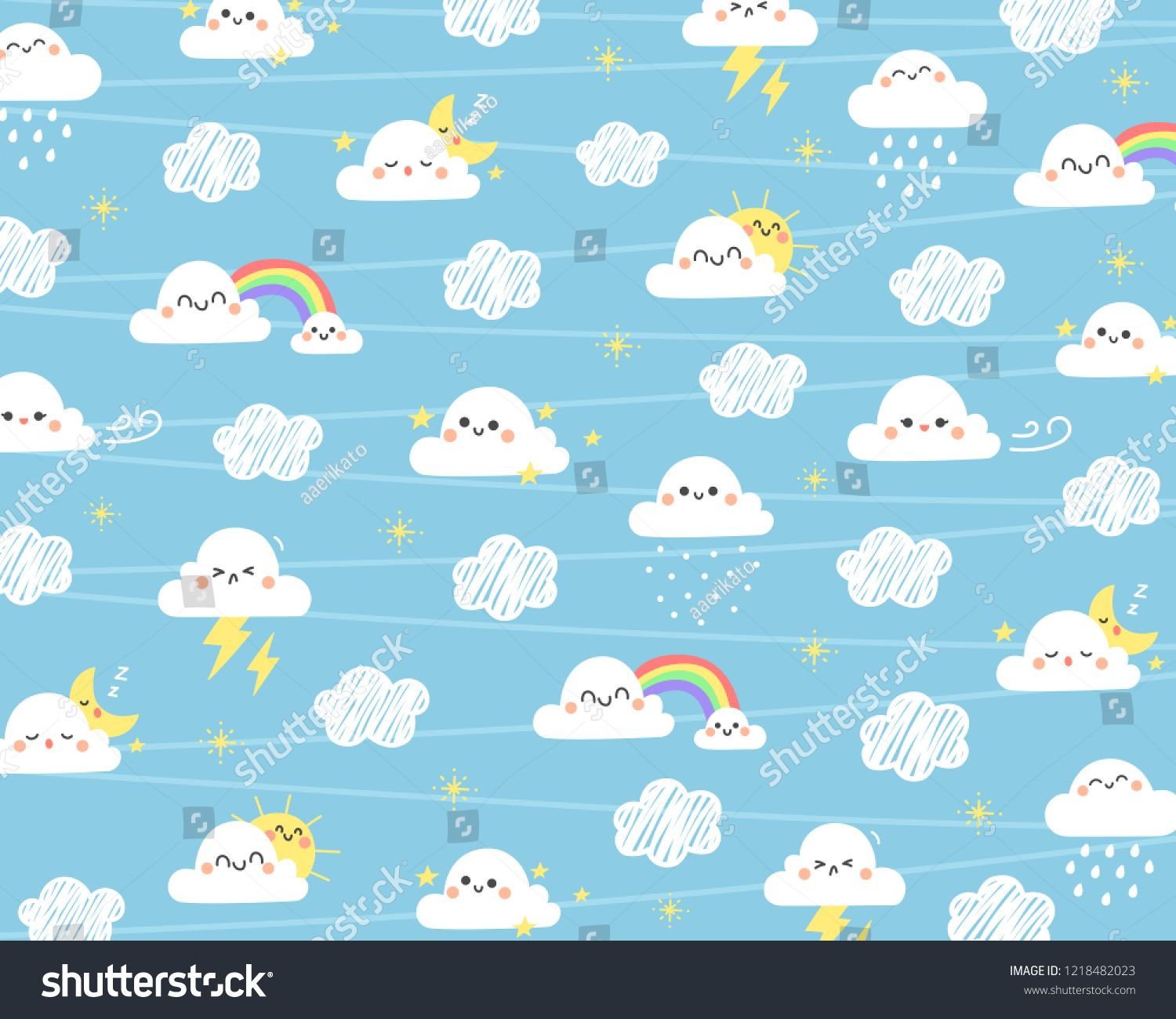 Cute Cloud Background Cloud With Different Moment On Sky Background Cloud Cute Sky Clouds Background Vector Photo