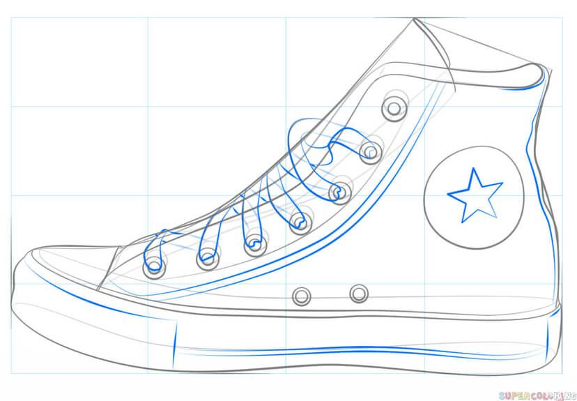 How To Draw A Converse Shoe Step By Step Drawing Tutorials For Kids And Beginners Drawing Tutorial Shoes Drawing Converse Drawing