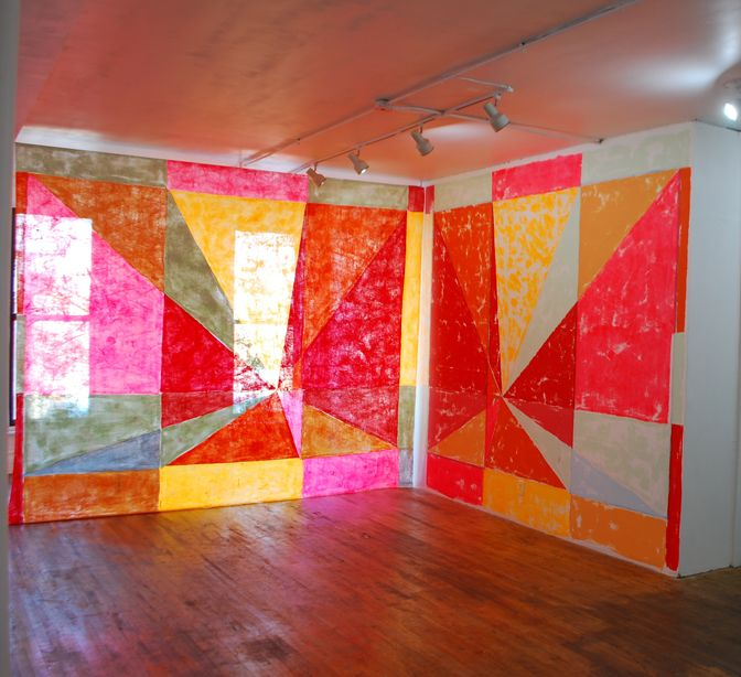 Anna Kunz, Pyramus and this be, latex on fabric and wall, 12'x14'x12'd