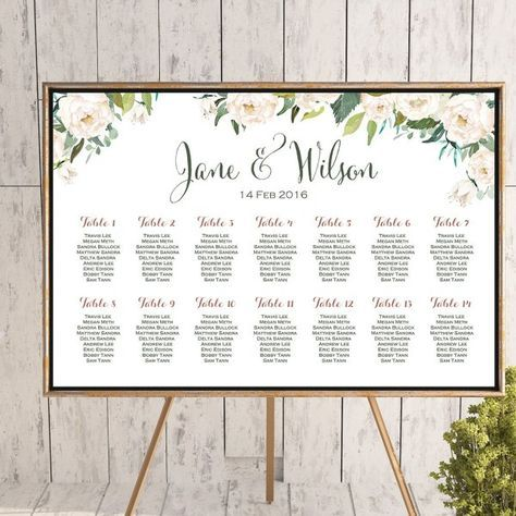 Free Printable Seating Chart White Flower Printable Custom Wedding Seating Chart Wedding Seating .