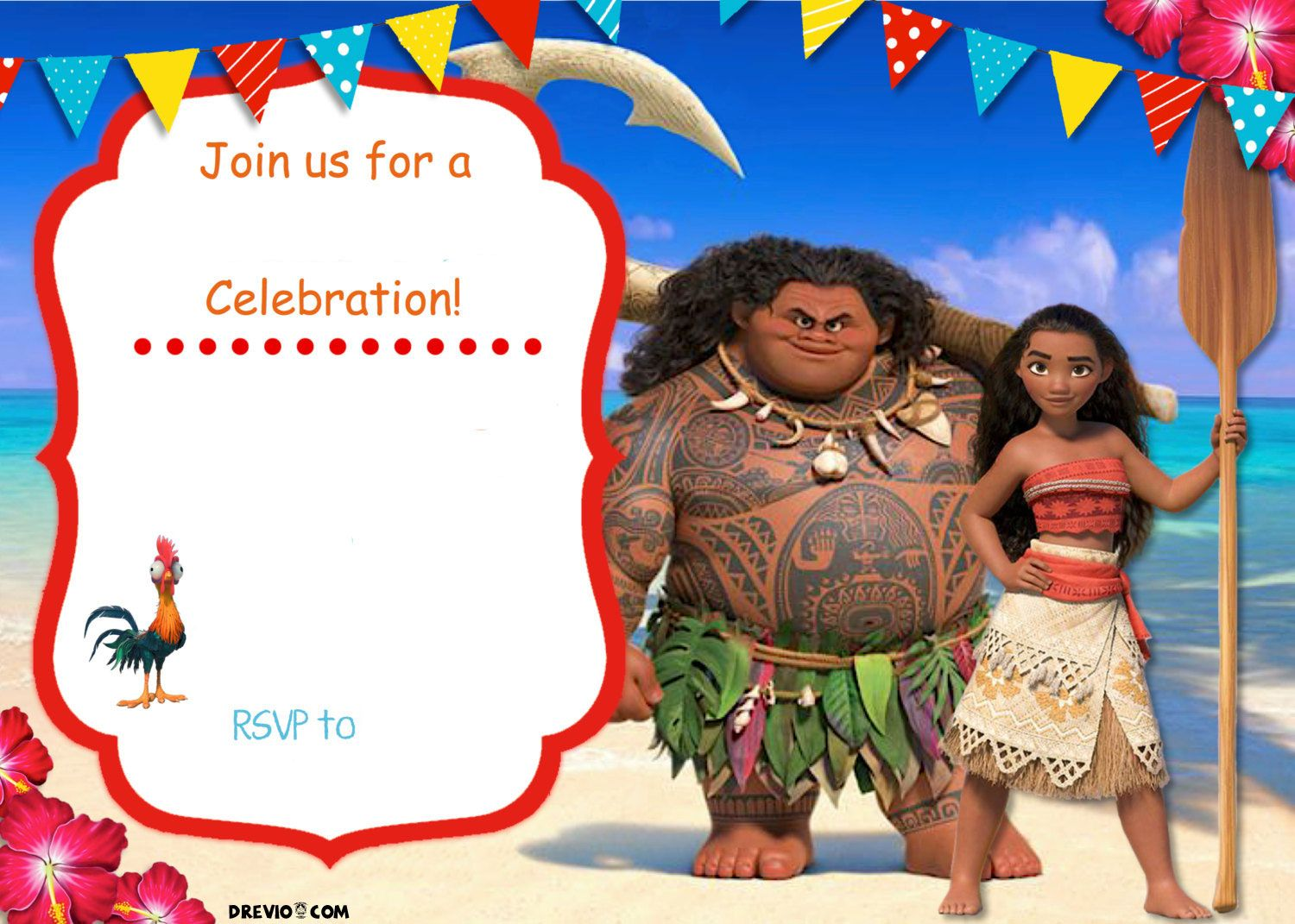 Free Moana Birthday Invitation Template Moana birthday Birthday