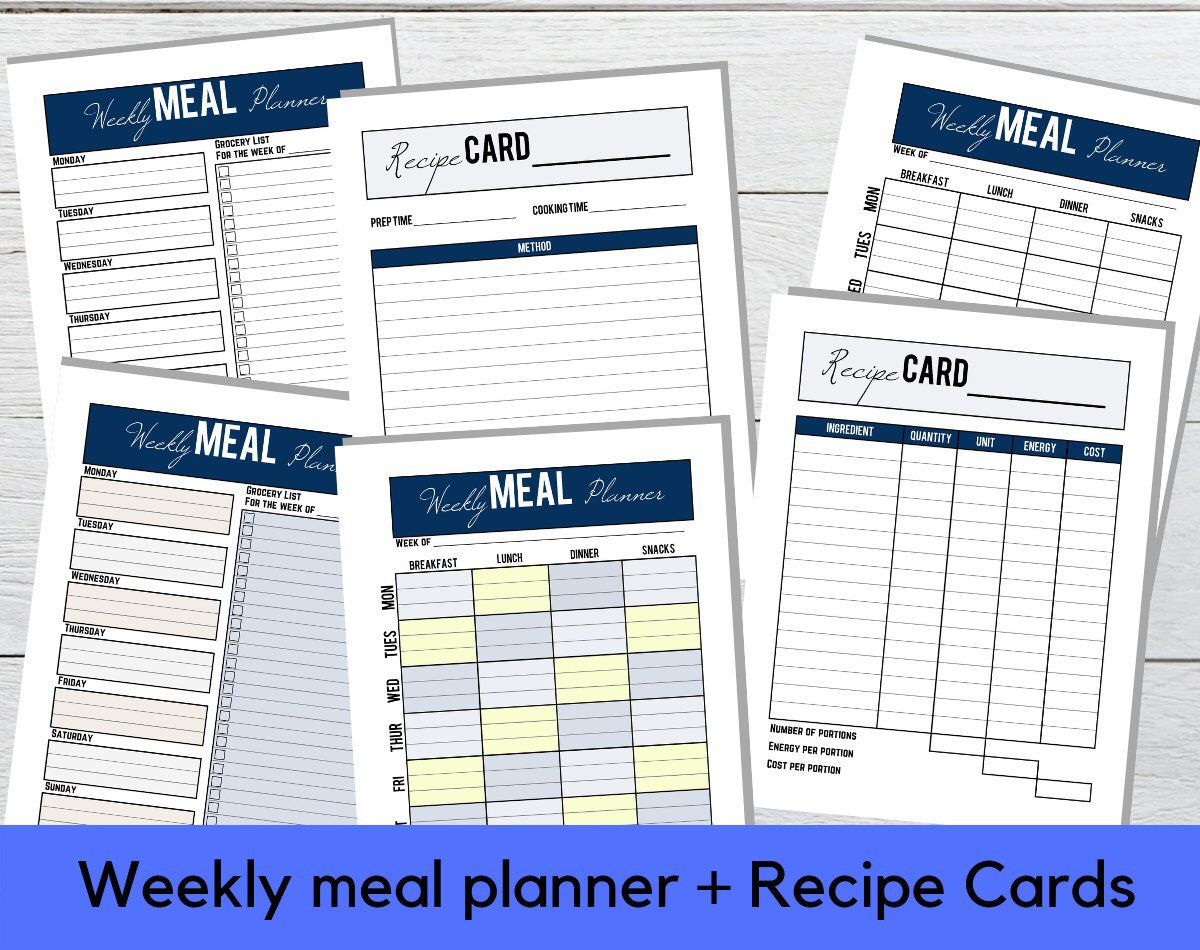 printable weekly meal planner digital pdf download recipe cards