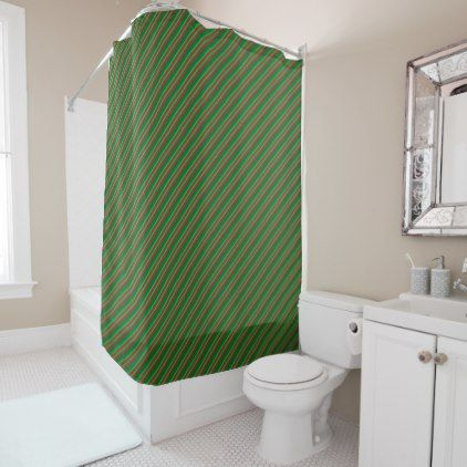 Red And Shades Of Green Stripes Shower Curtain | Striped Shower Curtains  And Green Stripes