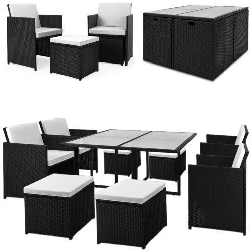 E465 Poly-Rattan-salotto-21pezzi-tavolo-mobili-da-giardino-sedia ...