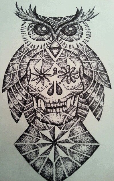 Sugar Skull And Owl Tattoo Design All Done In Dots Dotwork Geometric Owl Owl Skull Tattoos Owl Tattoo Design