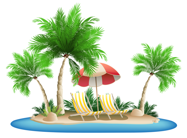 Beach Umbrella With Chairs And Palm Island Png Clipart