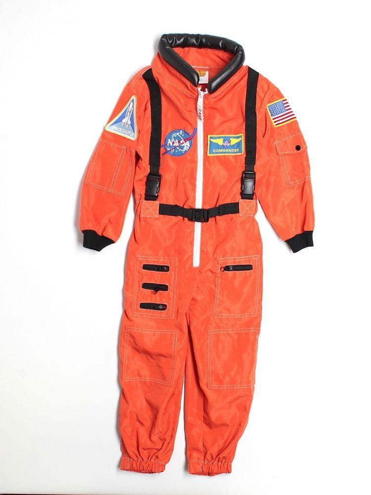 Boy Astronaut NASA Space Suit Kid Orange Jumpsuit Halloween ...