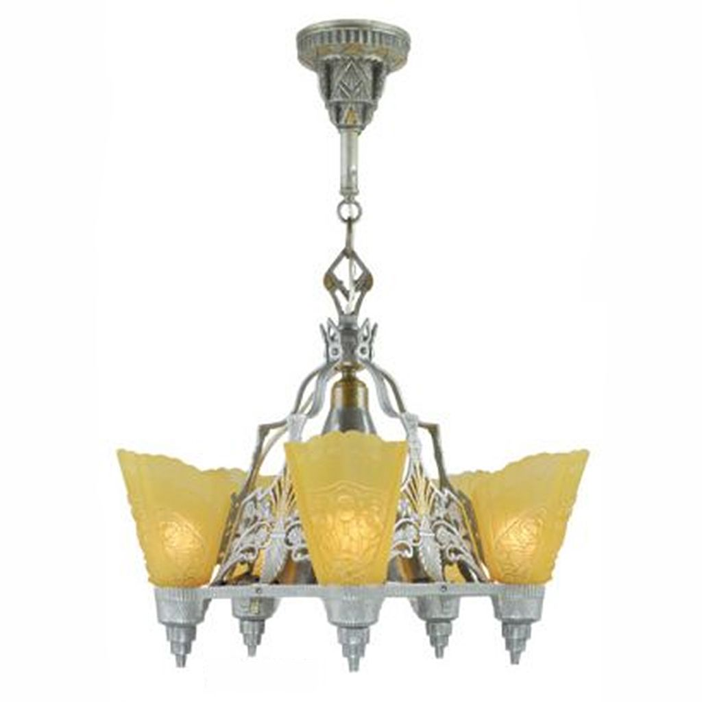 Art deco slip shade chandelier circa 1935 ceiling light by isco art deco slip shade chandelier circa 1935 ceiling light by isco ant 442 arubaitofo Image collections