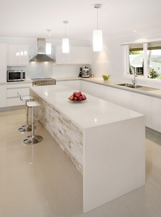 Buttermilk Waterfall benchtop and feature colour under bench ...
