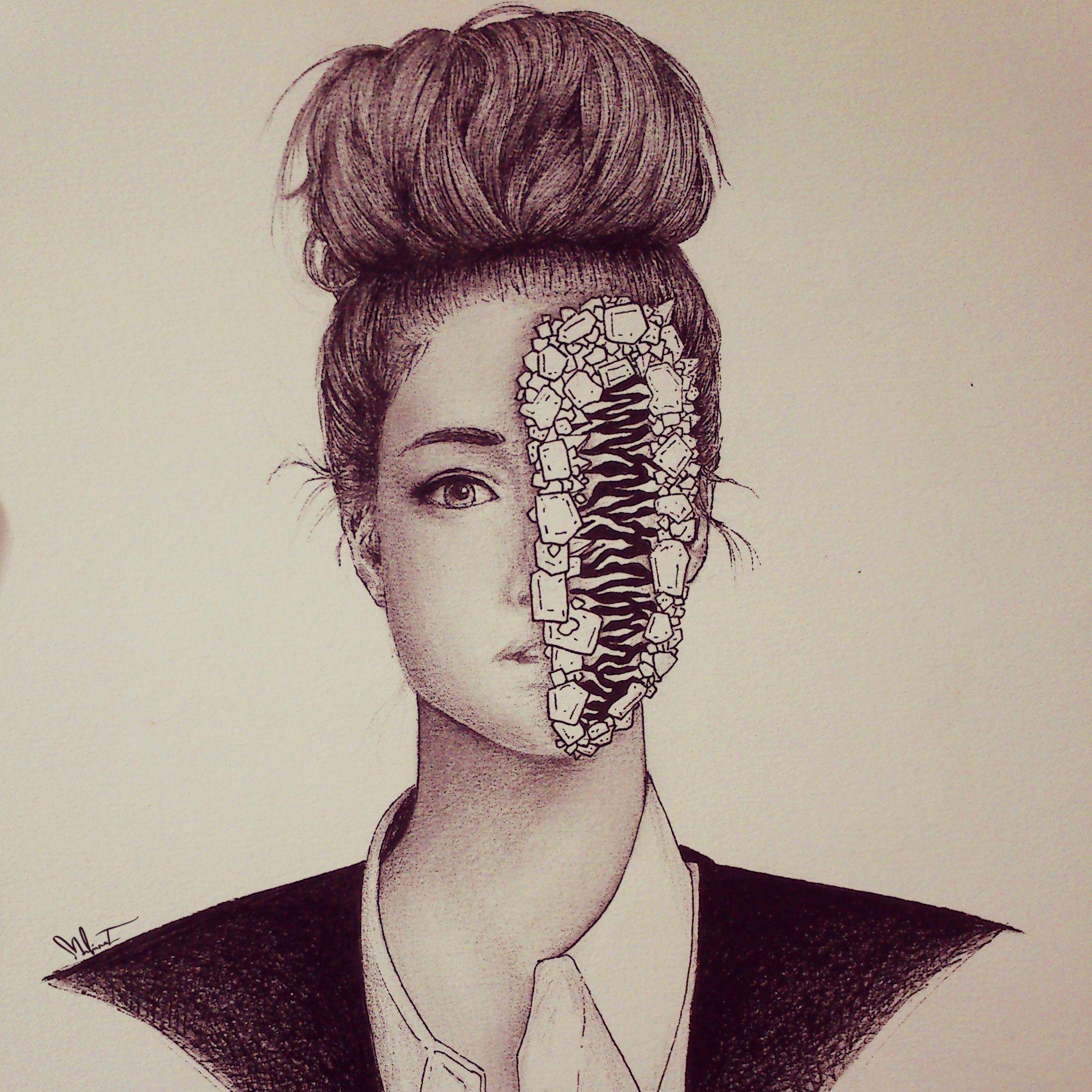 Line Drawing Hair : Messy bun drawing by mahinaz soliman my artworks