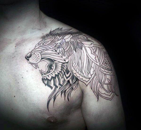 50 Lion Shoulder Tattoo Designs For Men Masculine Ink Ideas Lion Shoulder Tattoo Shoulder Tattoo Tattoo Designs