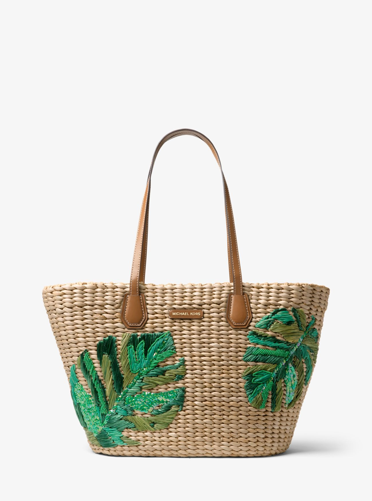 d0cfe260b1 Malibu Palm Embroidered Woven Straw Tote
