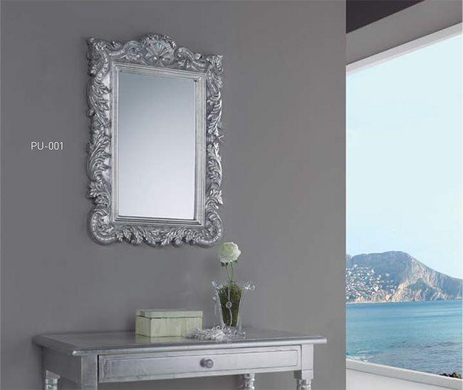 espejo clasico plateado espejo rustico en plata espejo con muldura rustica plateado espejos - Espejos Plateados
