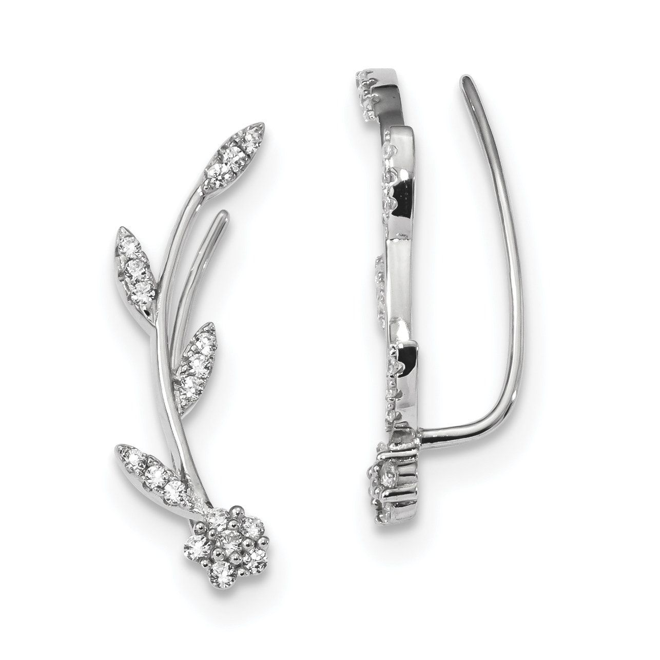 Sparkly Sterling Silver CZ Ear Climber Earrings