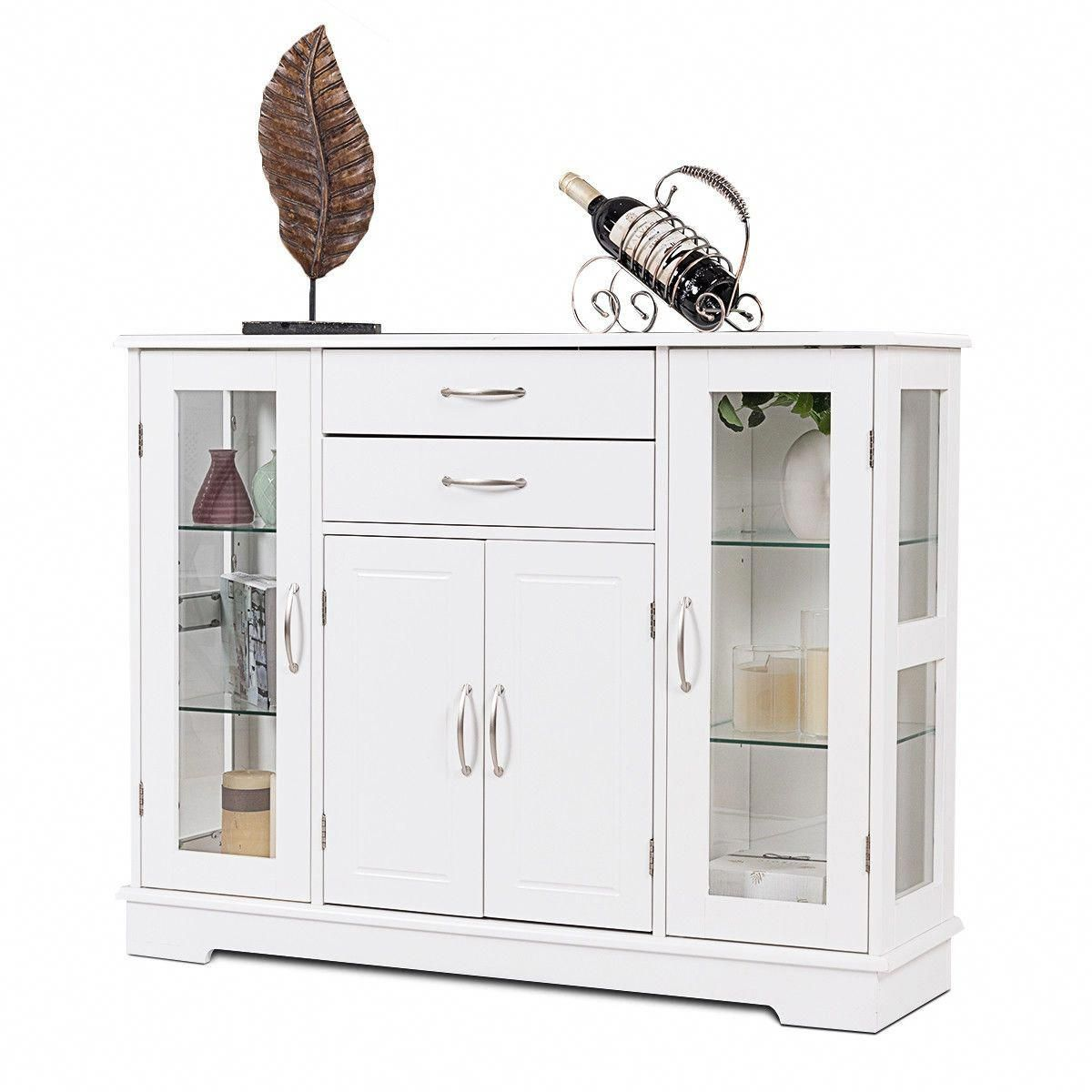 Superb Buffet Storage Cabinet Console Cupboard With Glass Door In Home Interior And Landscaping Ferensignezvosmurscom