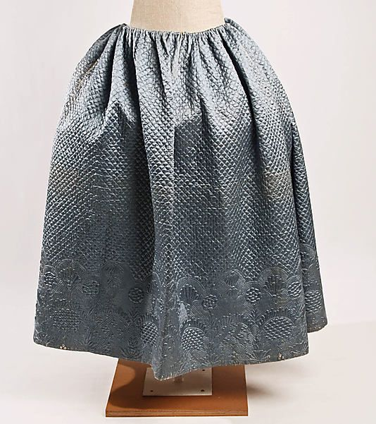 Quilted silk and cotton petticoat, probably French, 18th C.