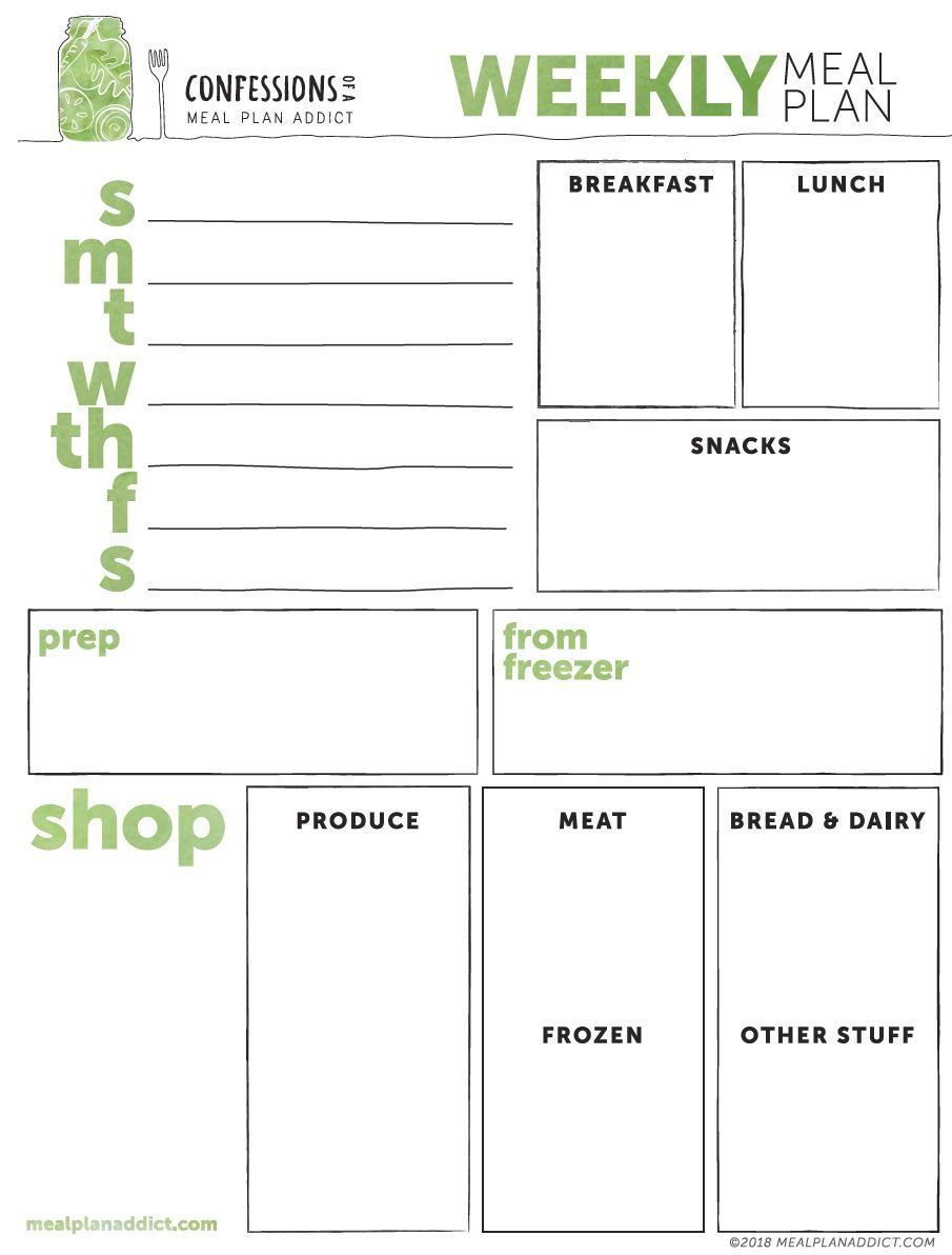 Free Printable Weekly Meal Planning Template Meal Planning