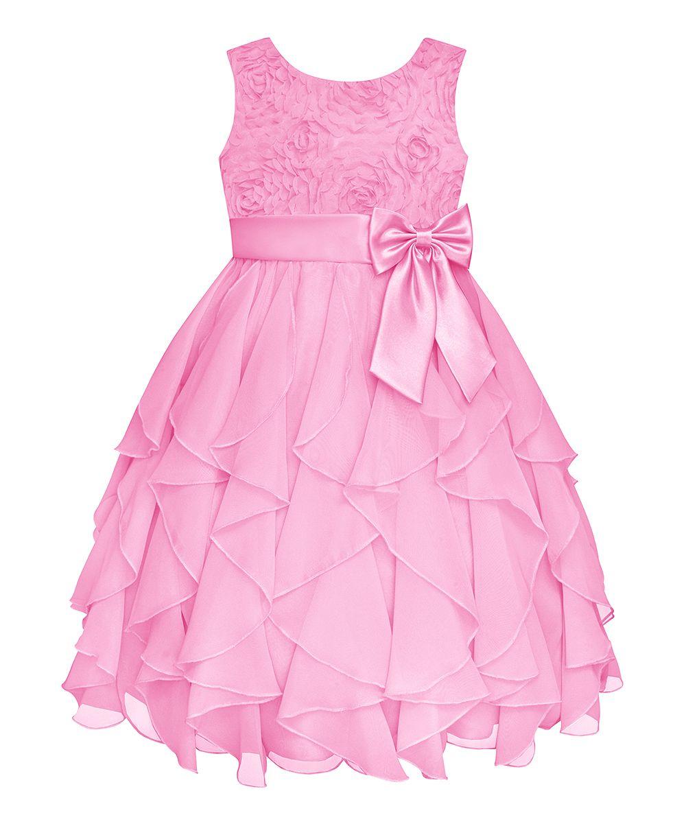 Ice Pink Rosette Cascade Dress - Girls\' Plus | Daily deals for moms ...