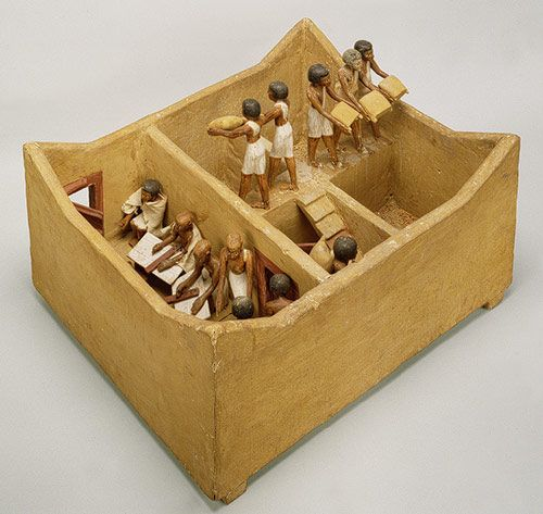 This model of a granary was discovered in a hidden chamber in the tomb of Meketre, an important official who began his career under Mentuhotep II of Dynasty 11 and continued to serve successive kings into early Dynasty 12. A set of detailed models depicting weaving, carpentry, and food production was placed in his tomb. They were intended to provide Meketre's spirit with everything it would need in the afterlife.