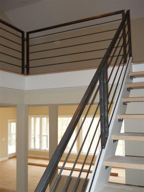 Interior Metal Stairway And Railing Metal Stair Railing | Wood And Metal Stair Railing | Outdoor | Modern | Newel Post | Basement | Contemporary