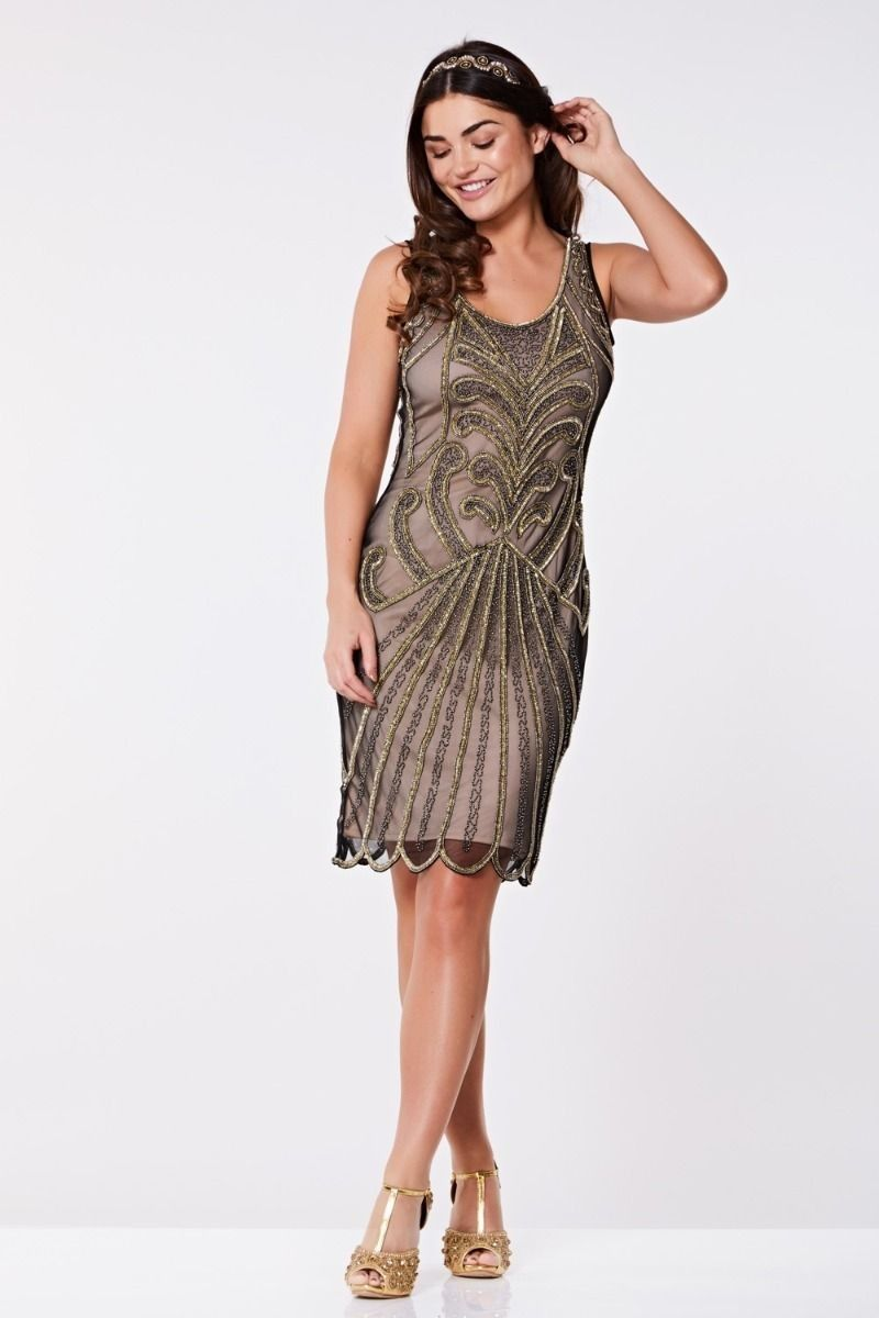 Art Deco Cocktail Dress in Nude Black | 1920s inspired dresses ...