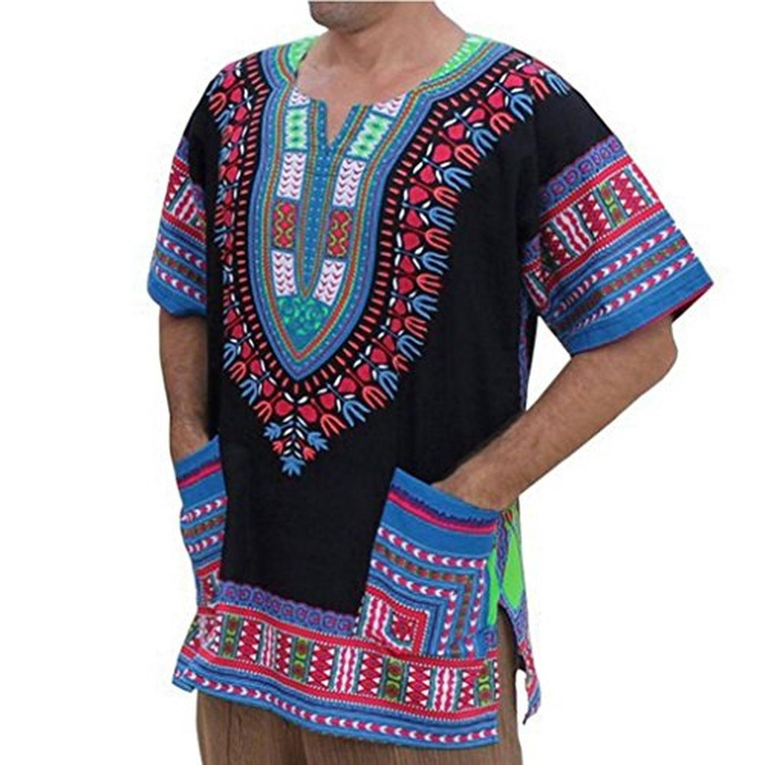 Mallcat Traditional Casual Loose Thailand Style African Print Dashiki T-Shirt (M, Black2) - Brought to you by Avarsha.com