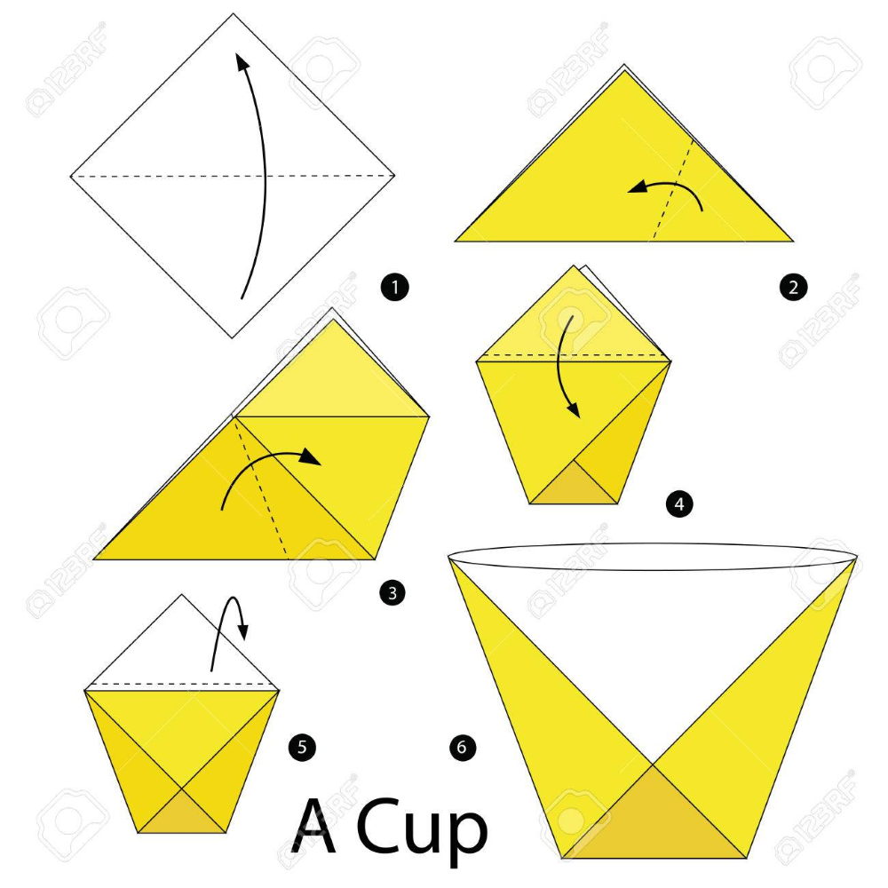 Photo of step by step instructions how to make origami A Cup