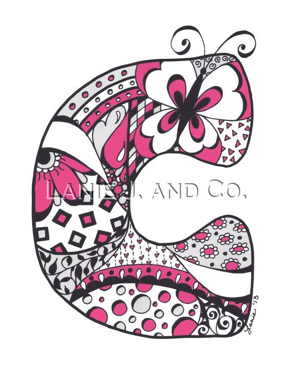 Doodled Letter C Illustration 81/2 x 11 Art Print by
