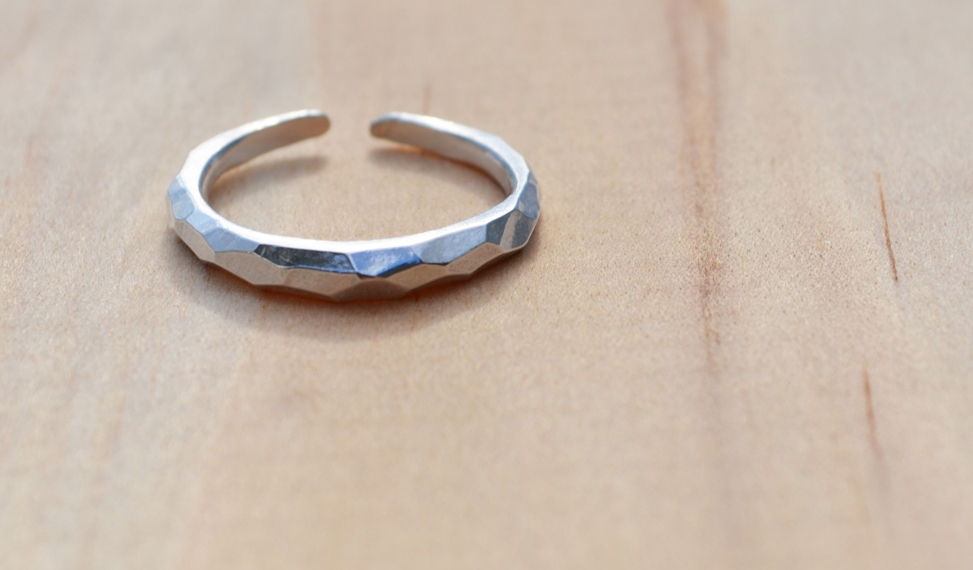 Ring silver dainty handcarved wave ring mothers day stackable
