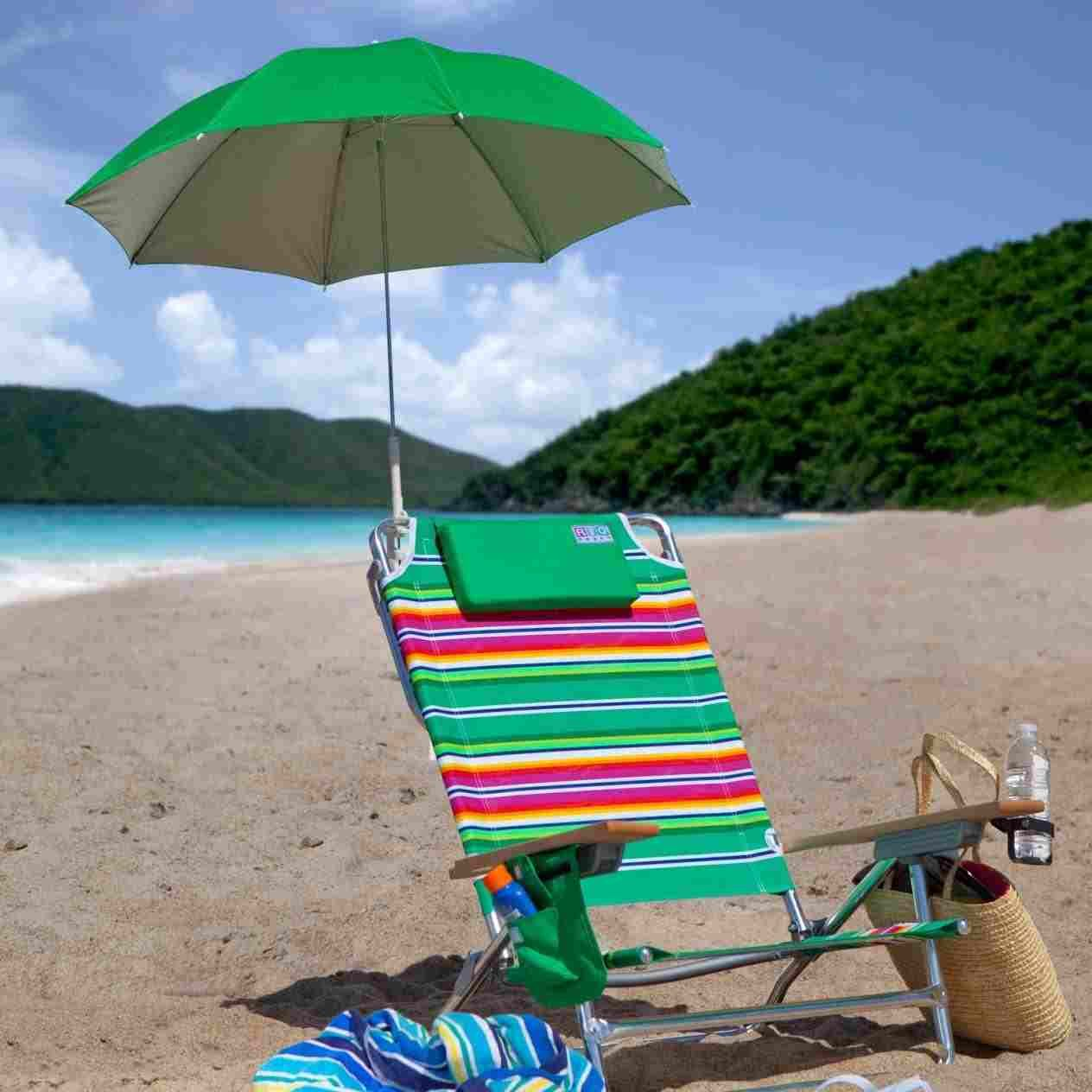 Beach Chairs With Umbrellas Yellow And White Accent Clip On Umbrella For Chair Riset