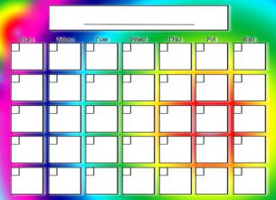 rainbow design blank calendar printable calendars pinterest