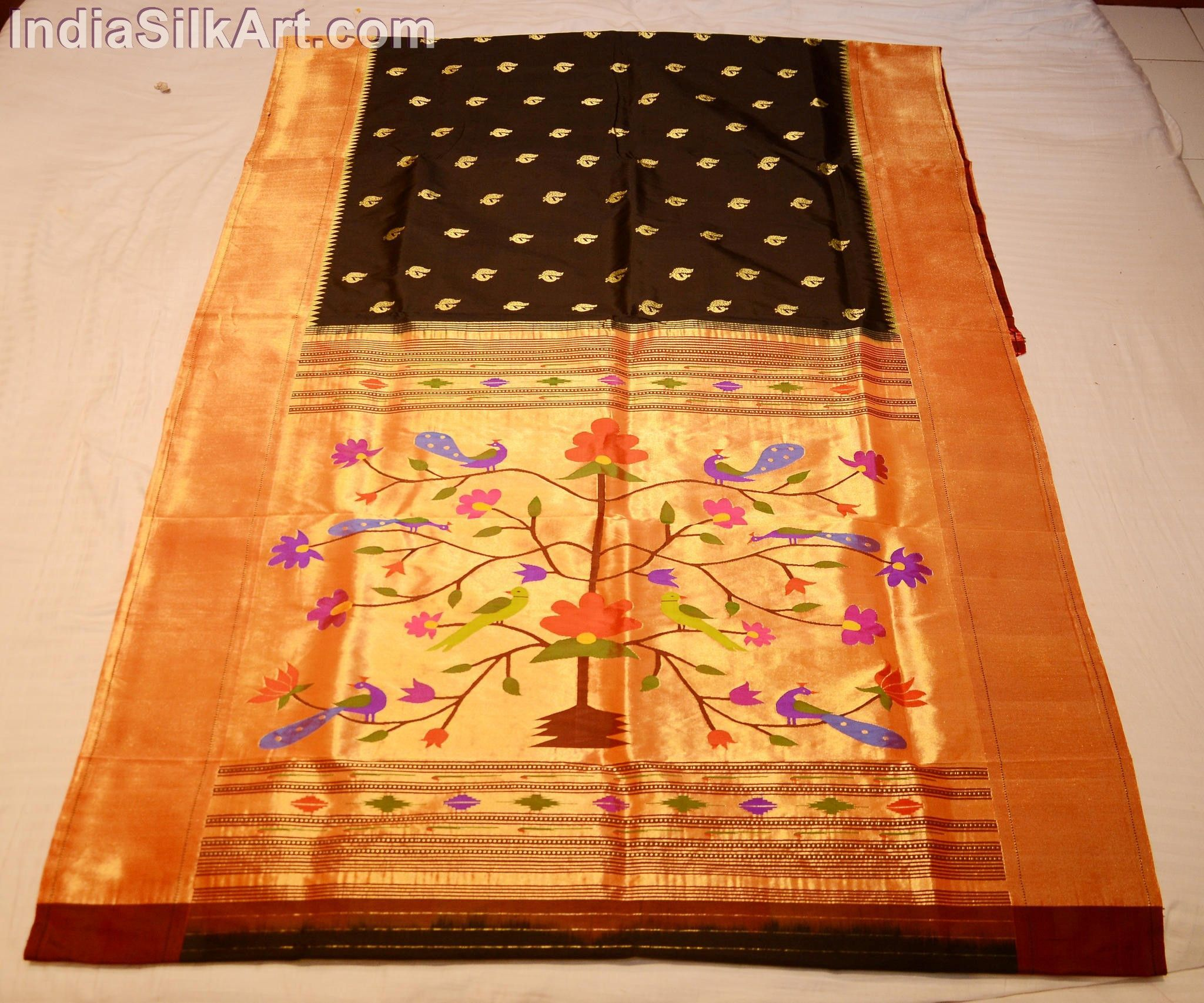 Saree images paithani black handwoven silk sari with fancy wall pallu  saris fancy and silk