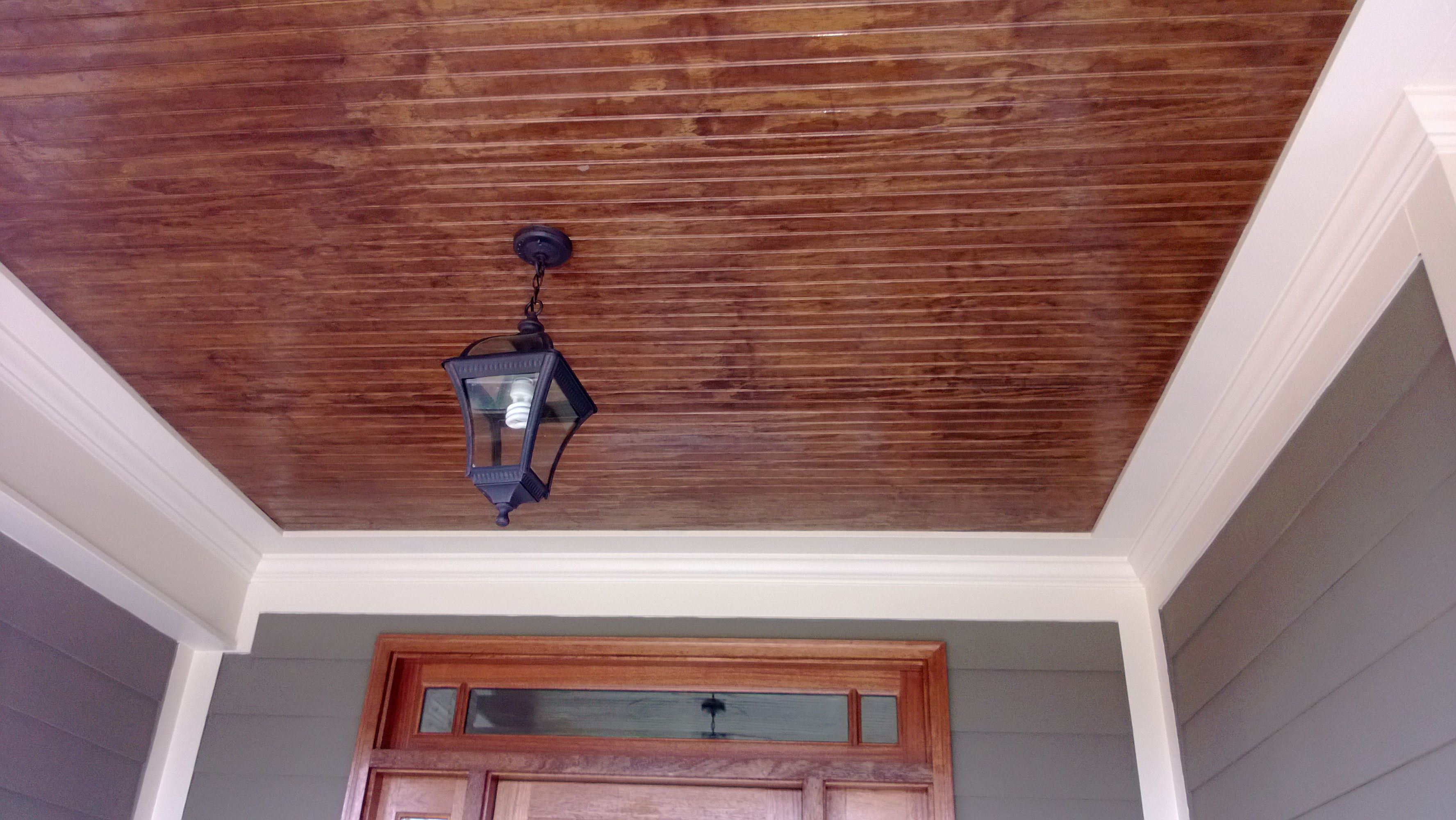 Cedar Tongue And Groove Porch Ceiling Porch Ceiling Outdoor House Colors Bungalow Exterior