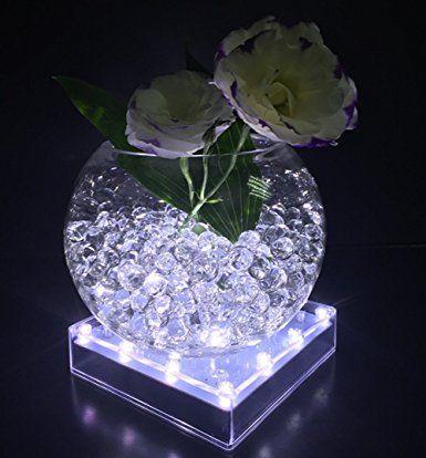 Atcket White Light 5in Acrylic Square Led Vase Base Light With 16