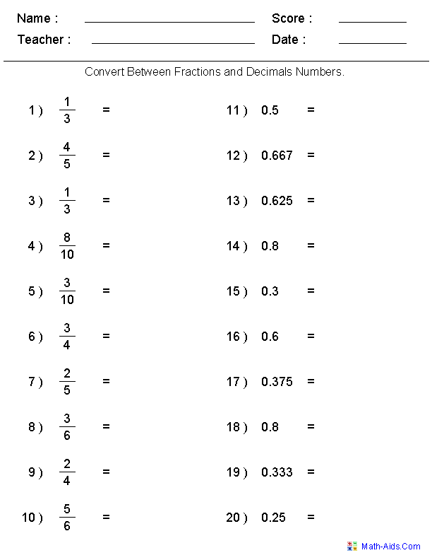 Converting Between Fractions Decimals Worksheets Teacher